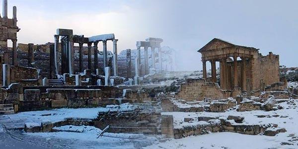 En Photos : Le bel amphithéâtre de Dougga recouvert de neige