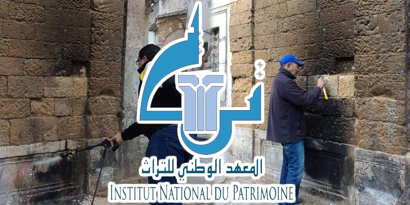 المعهد الوطني للتراث يتدخل لإزالة آثار الحروق  بنهج تربة الباي بالمدينة العتيقة