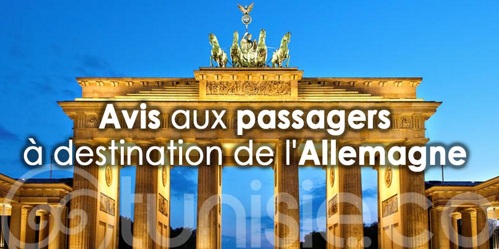 Avis aux passagers à destination de l'Allemagne