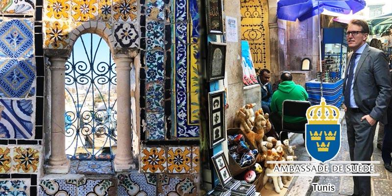 En photos : L'ambassadeur Fredrik Florén à la découverte de la médina de Tunis