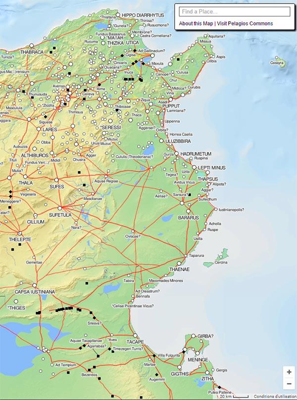Découvrez la carte à la Google Maps de la Tunisie à l'époque romaine