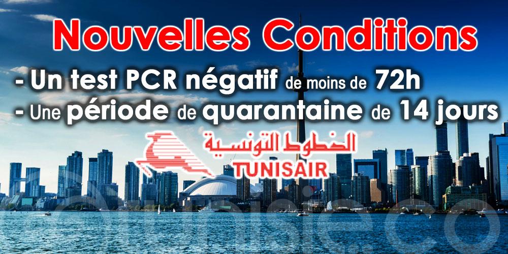 Tunisair : Nouvelles conditions d'acceptation des passagers vers Canada à partir du 7 Janvier