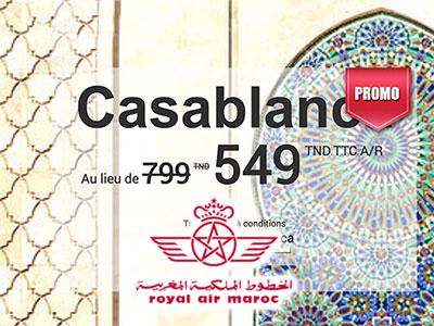 Royal Air Maroc propose Casablanca à 549 Dt TTC
