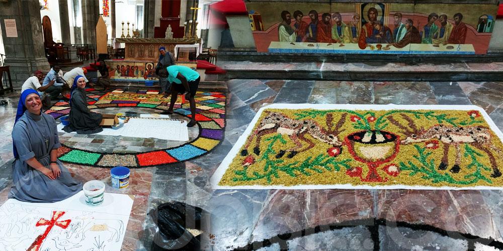 En photos : Préparation des tapis pour la prochaine fête Dieu à la Cathédrale de Tunis