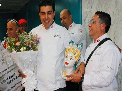 Accueil des chefs champions Bilel Wechtati et Chef Taieb Bouhadra à l'Aéroport de Tunis
