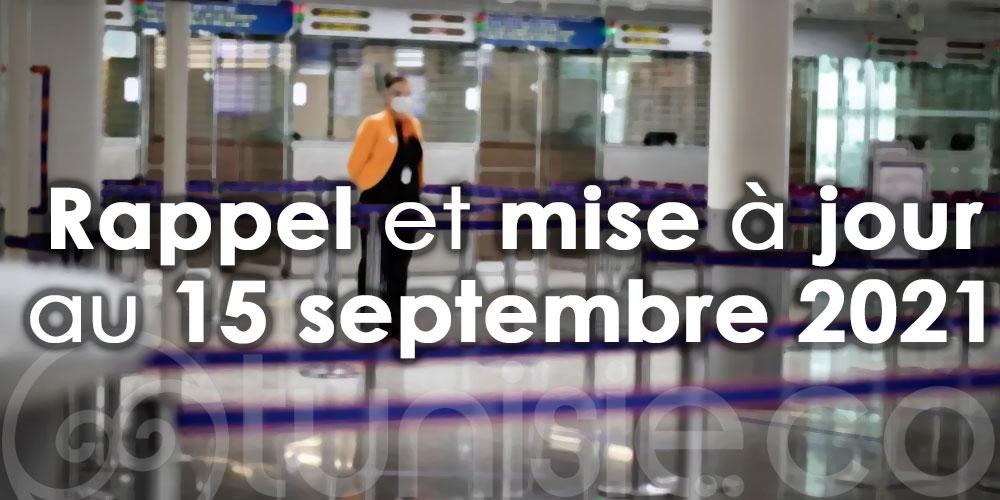 Conditions d'entrée sur le territoire tunisien : Rappel et mise à jour au 15 septembre 2021