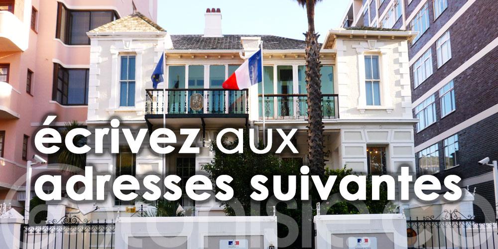Pour contacter les services du Consulat de France, écrivez aux adresses suivantes