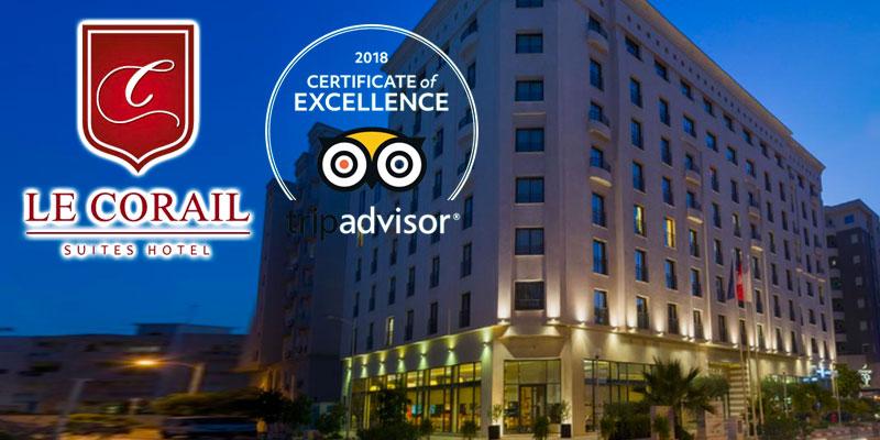 Le Corail Suites Hotel reçoit certificat d'excellence 2018 de Tripadvisor
