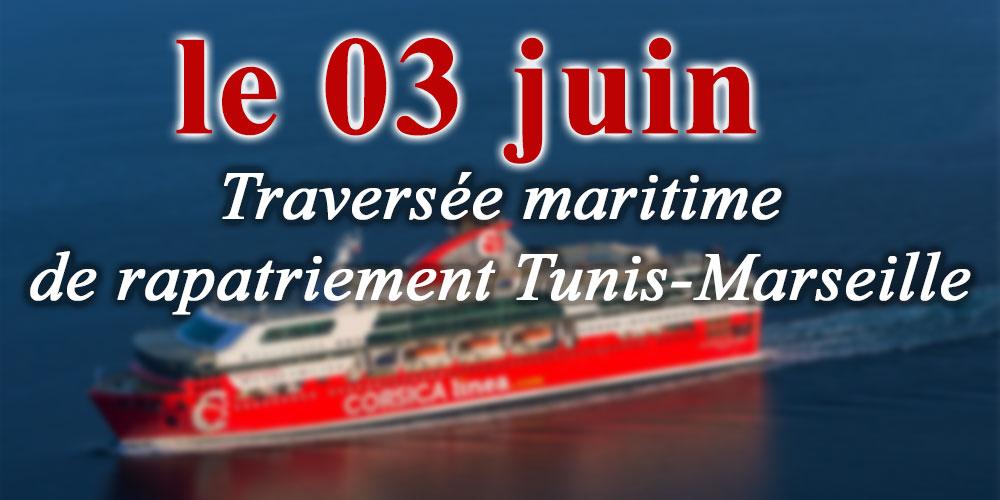 Traversée maritime de rapatriement Tunis-Marseille, le 03 juin