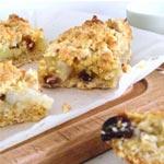 Recette : Carrés crumble de pommes, raisins secs aux flocons d'avoine