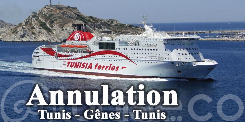 CTN: Annulation de la traversée du car-ferry Tanit à destination de Gênes