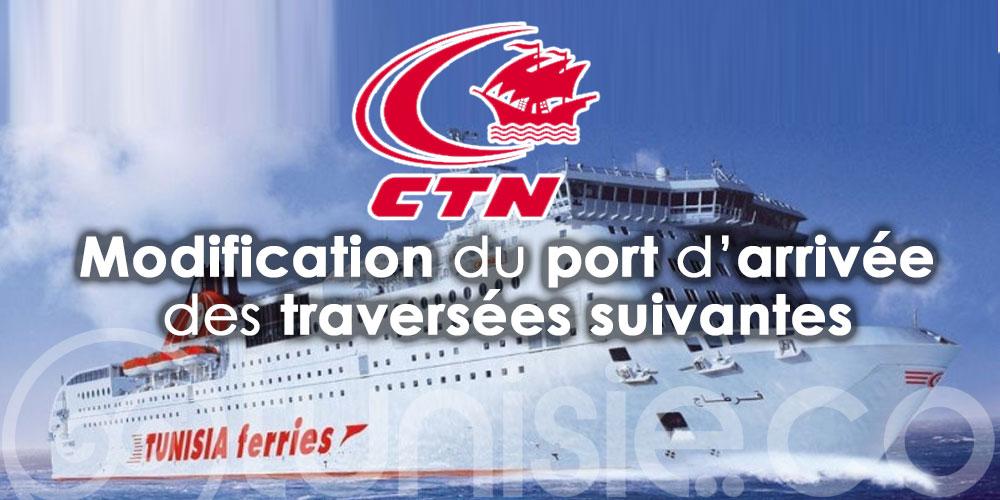 CTN: Modification du port d'arrivée des traversées suivantes