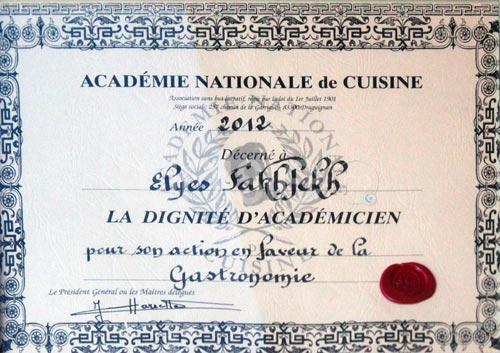 M elyes fakhfakh honor par l 39 acad mie nationale de for Academie nationale de cuisine