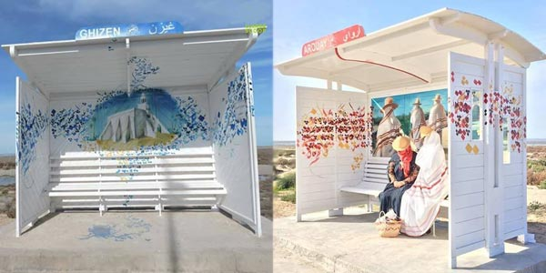 Les stations bus se sont transformés en vraies pièces d´art à Djerba