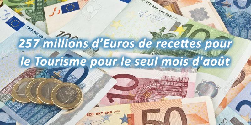 257 millions d'Euros de recettes pour le Tourisme pour le seul mois d'août