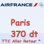 Offre exceptionnelle: Tunis - Paris à 370 dt TTC A/R chez Airfrance