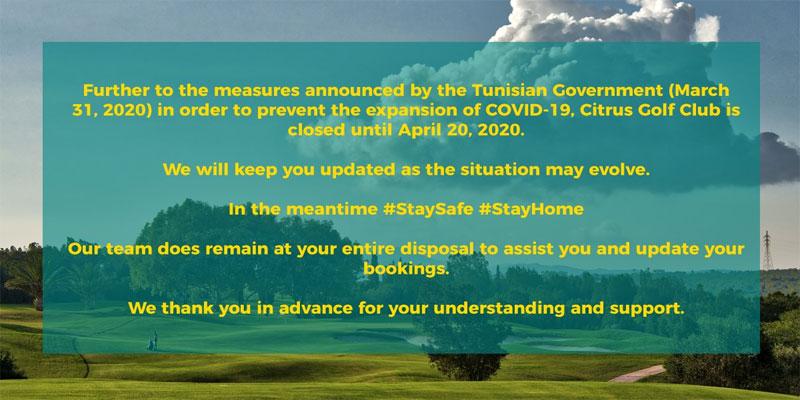 Le Citrus Golf Club est fermé jusqu'au 20 Avril