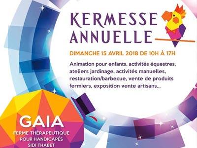 Kermesse De GAÏA 2018 se tiendra le 15 avril à la ferme thérapeutique de Sidi Thabet