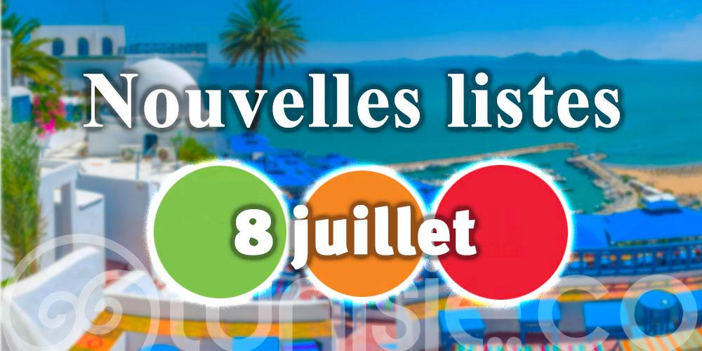 Nouvelles listes des pays par couleurs pour l'entrée en Tunisie - 8 Juillet
