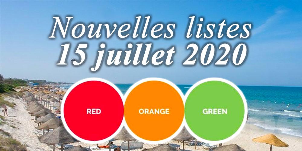 Nouvelles listes des pays par couleurs pour l'entrée en Tunisie - 15 Juillet