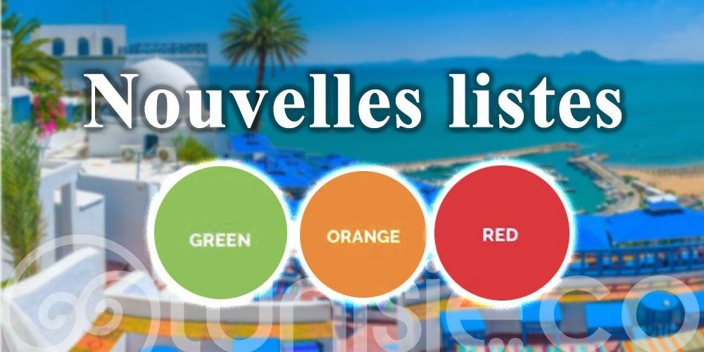Nouvelles listes des pays par couleurs pour l'entrée en Tunisie