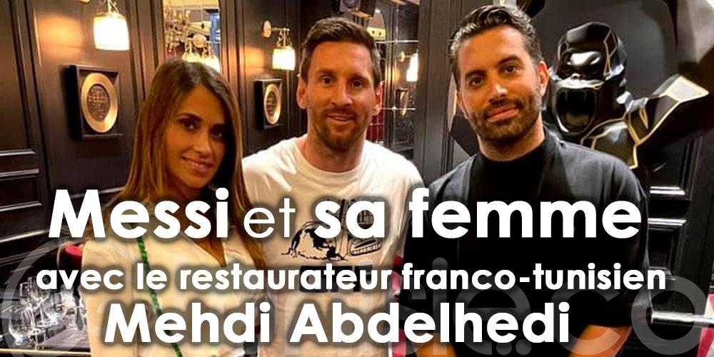 Messi avec le restaurateur franco-tunisien Mehdi Abdelhedi à son restaurant le César Paris
