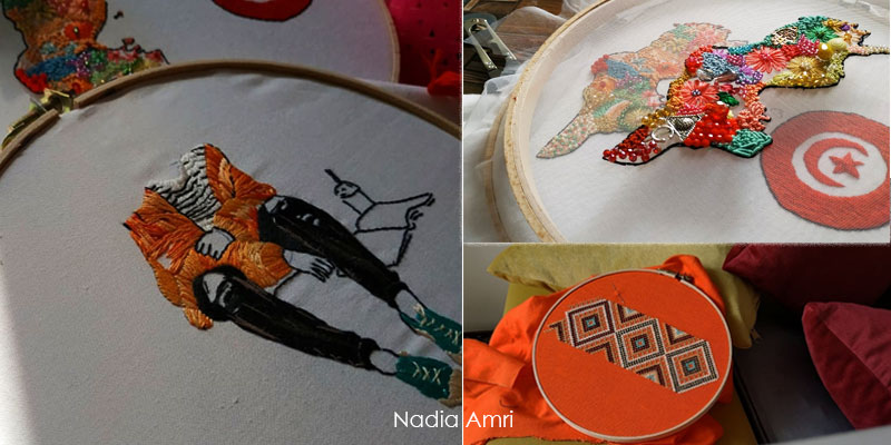 Nadia Amri, une jeune créatrice qui brode l'art depuis chez elle