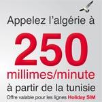250 millimes/minute vers l'Algérie à partir de Tunisiana