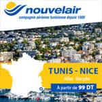 Nouvelair : Tunis-Nice à partir de 99Dt