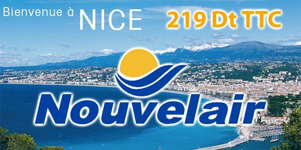 Un aller retour vers Nice pour 219 Dinars TTC avec Nouvelair