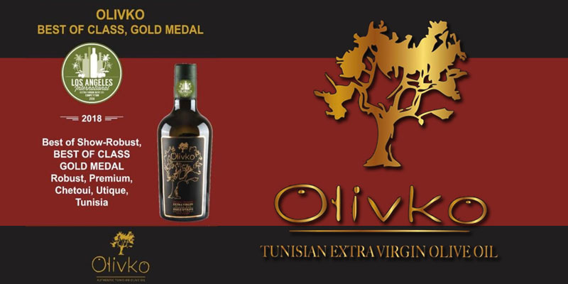 L'huile d'olive tunisienne ''Olivko'' remporte la médaille d'or ''Best Of Class'' à  Los Angeles
