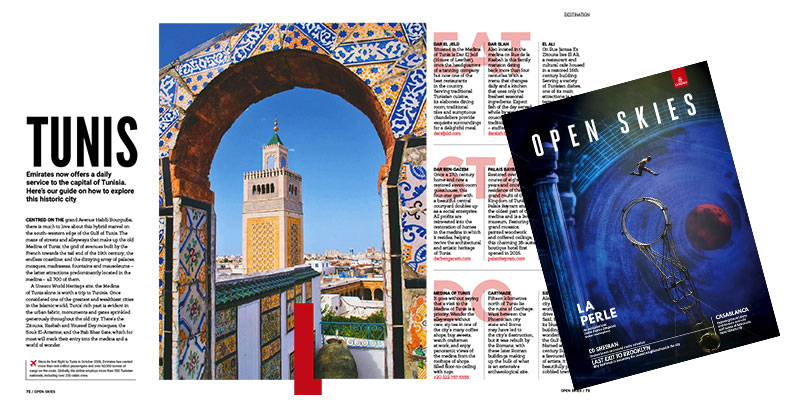 Le magazine Open Skies de Emirates dédie 2 pages à la Tunisie