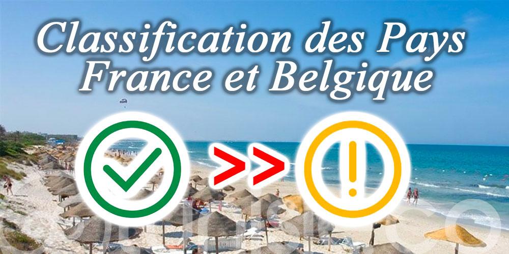 La France, Belgique passent du Vert à l'Orange