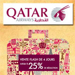 Vente flash sur Qatar Airways avec 25% de réduction