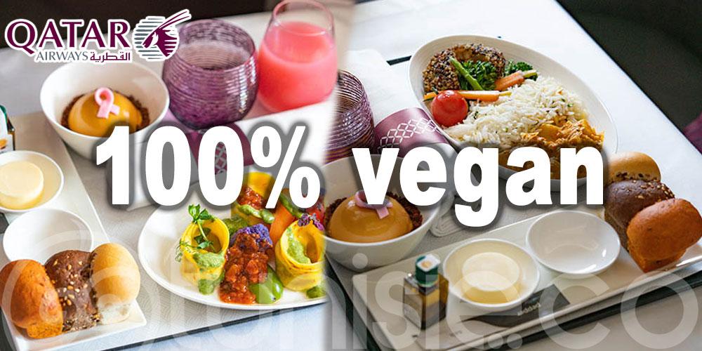 Un menu entièrement vegan aux passagers Qatar Airways