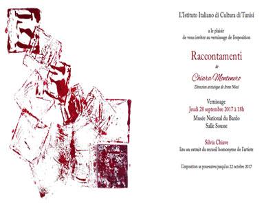 Vernissage de l'exposition '' Raccontamenti '' de l'artiste italienne Chiara Montenero au Musée du Bardo