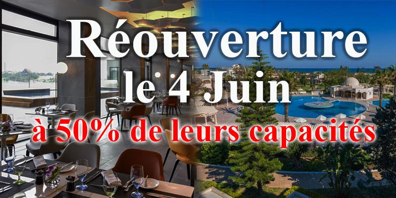 Les Hôtels, restaurants et cafés reprendront le 4 juin à 50% de leurs capacités