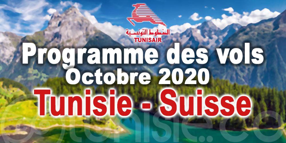 Programme des vols Tunisair de et vers la Suisse - Octobre 2020
