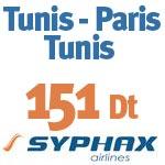 Tunis-Paris Aller Retour à 151 Dt avec Syphax Airlines