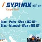 Offres Syphax Airlines : Paris à 360 DT et Istanbul à 452 DT au mois de juin