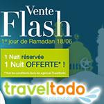 1 Nuit réservée, 1 Nuit Offerte par Traveltodo pour ce Weekend