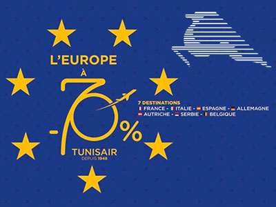 Promotion : L'Europe à -70% chez Tunisair