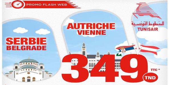 Tunisair : Belgrade, Vienne et Londres à partir de 349TND TTC