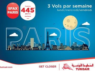 Découvrez l'offre spéciale de TUNISAIR pour la réinstauration de la ligne Sfax - Paris