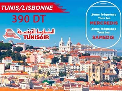 Tunisair vous emmène à Lisbonne 3 fois par semaine avec le tarif promotionnel 390 DT TTC