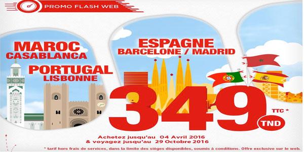 Tunisair : Casablanca, Barcelone et Lisbonne à partir de 349TND TTC