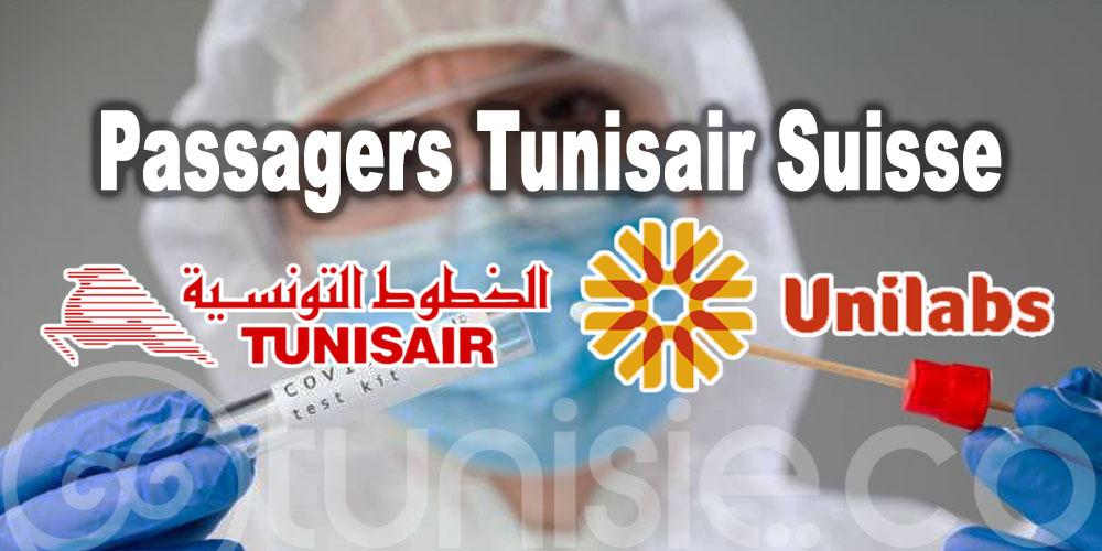 Passagers Tunisair Suisse: réalisez votre Test RT-PCR avec Unilabs