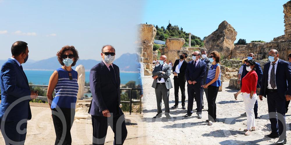 المديرة العامة لليونيسكو في زيارة إلى عدد من المعالم التاريخية بمنطقة قرطاج رفقة وزير الشؤون الثقافية بالنيابة