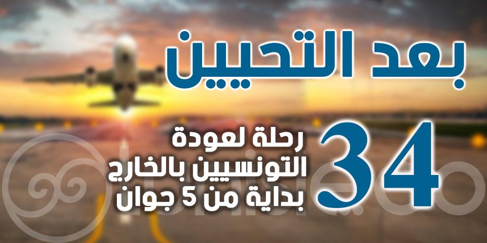 بعد التحيين: 34 رحلة لعودة التونسيين بالخارج بداية من 5 جوان