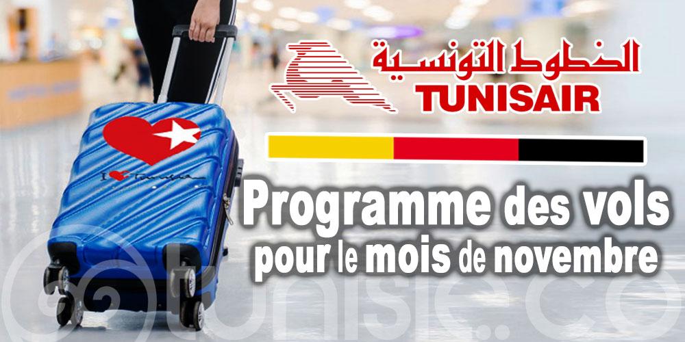 Programme des vols Tunisair à destination de l'Allemagne pour le mois de novembre